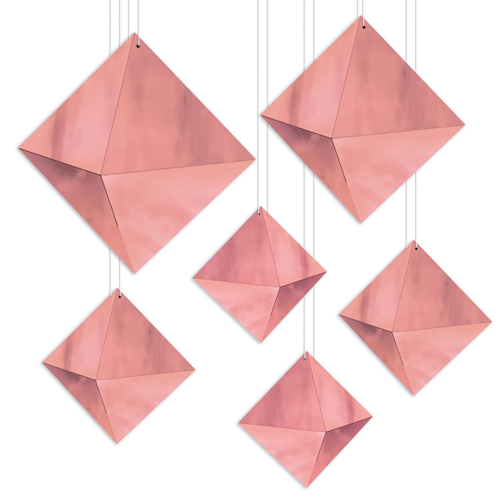 3-D Rose Gold Foil Hanging Diamond Decorations - Pack of 6
