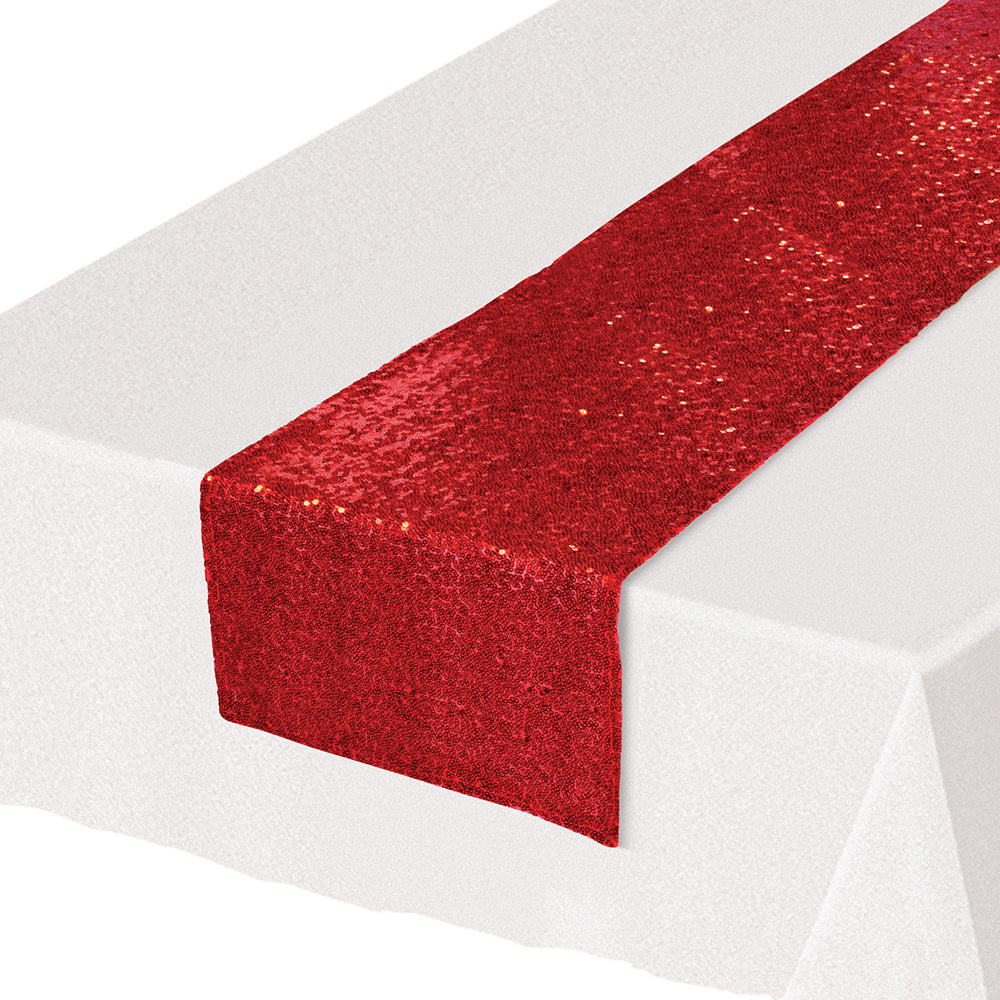 Red Sequinned Table Runner - 1.9m