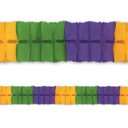 Green, Yellow & Purple Tissue Paper Garland - 4m