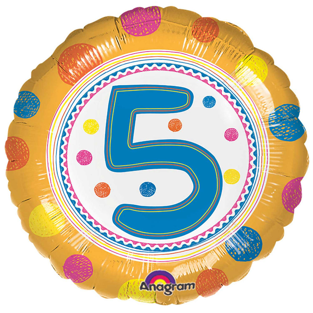 5th Birthday Spots Foil Balloon - 18""