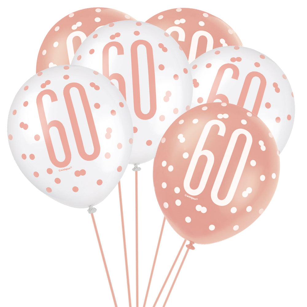 "Birthday Glitz Rose Gold 60th Pearlised Latex Balloons - 12"" Pack of 6"
