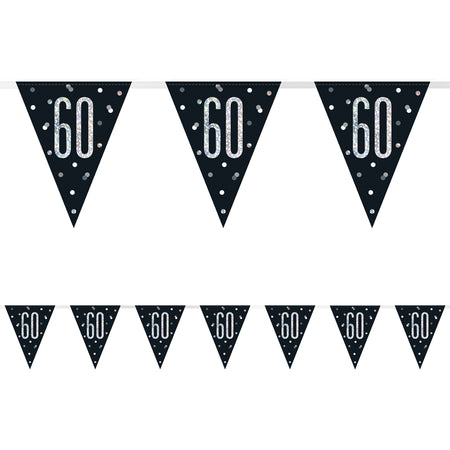 Birthday Glitz Black & Silver 60th Flag Bunting