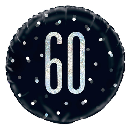Birthday Glitz Black & Silver 60th Prismatic Foil Balloon - 18