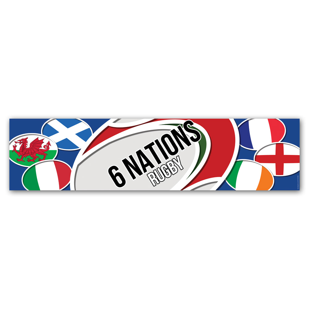 6 Nations Rugby Banner Decoration - 1.2m