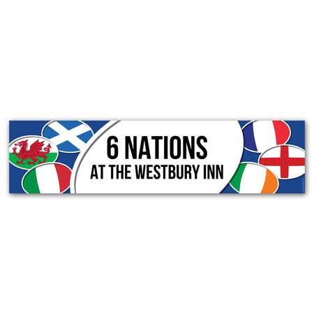 6 Nations Rugby Personalised Banner Decoration - 1.2m