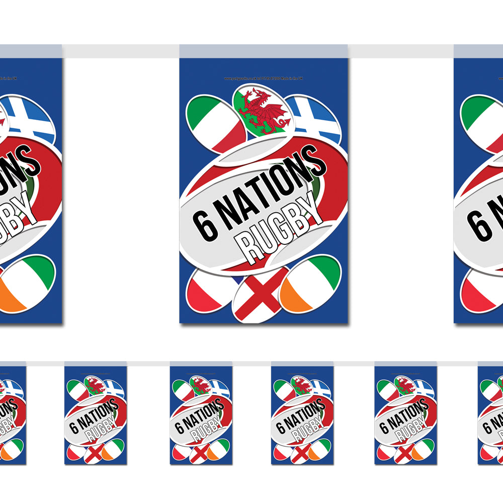 6 Nations Rugby Paper Flag Bunting Decoration - 2.4m