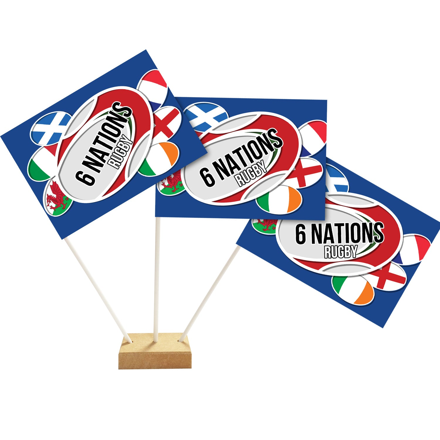 "6 Nations Rugby Table Flag Decoration - 6"" on 10"" Pole"