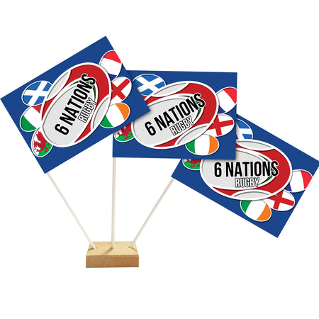 6 Nations Rugby Table Flag Decoration - 6