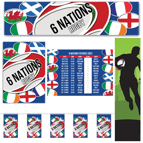6 Nations Rugby Party Pack With 2021 Fixtures Poster