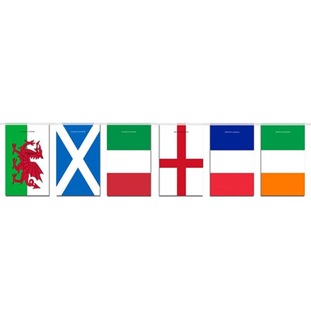 6 Nations Countries Paper Bunting - 1.9m