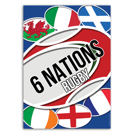 6 Nations Rugby Poster Decoration - A3