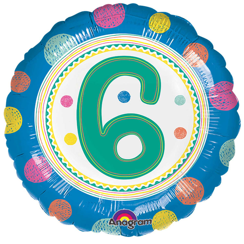 6th Birthday Spots Foil Balloon - 18""