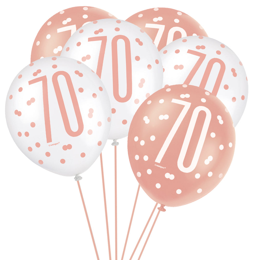"Birthday Glitz Rose Gold 70th Pearlised Latex Balloons - 12"" - Pack of 6"