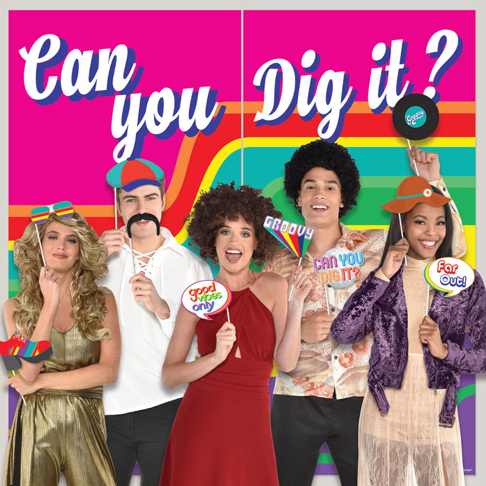 70's Can You Dig It Scene Setter Backdrop With Photo Props - 1.65m