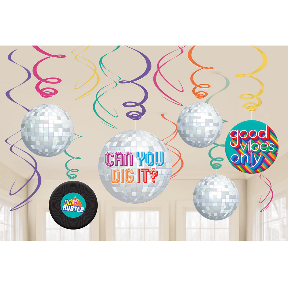 70's Disco Fever Swirl Decorations - Pack of 12