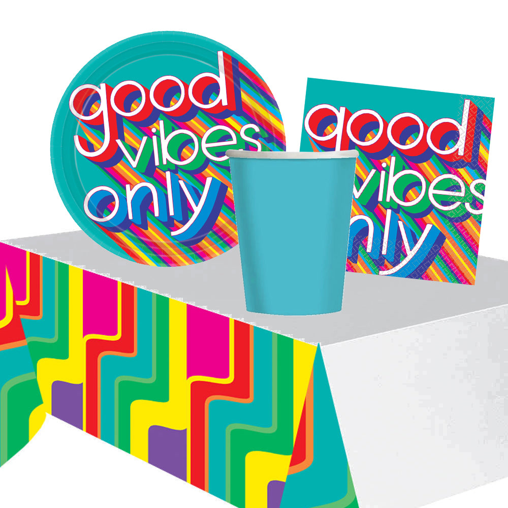 70's Good Vibes Party Pack - For 8 People