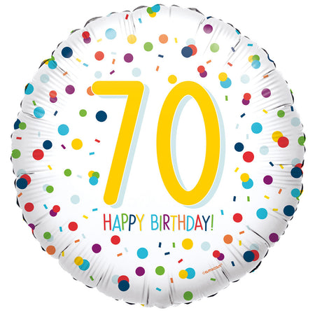 70th Birthday Confetti Foil Balloon - 18
