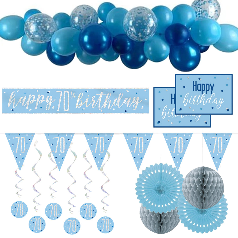 70th Birthday Blue & Silver Glitz Decoration Pack