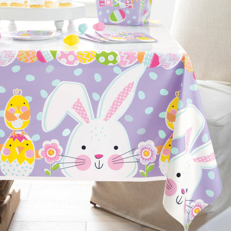 Lilac Easter Rectangular Plastic Table Cover - 137cm x 213cm