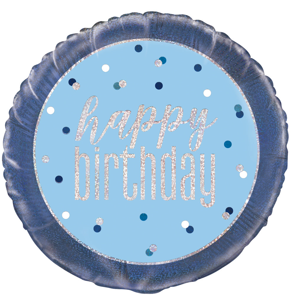 Birthday Glitz Blue Happy Birthday Prismatic Foil Balloon - 18""