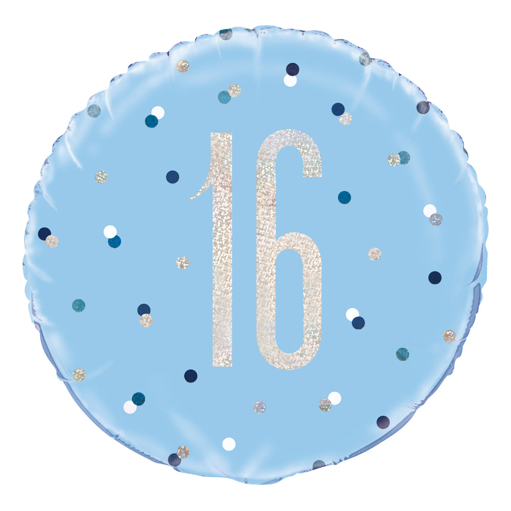 Birthday Glitz Blue 16th Prismatic Foil Balloon - 18""