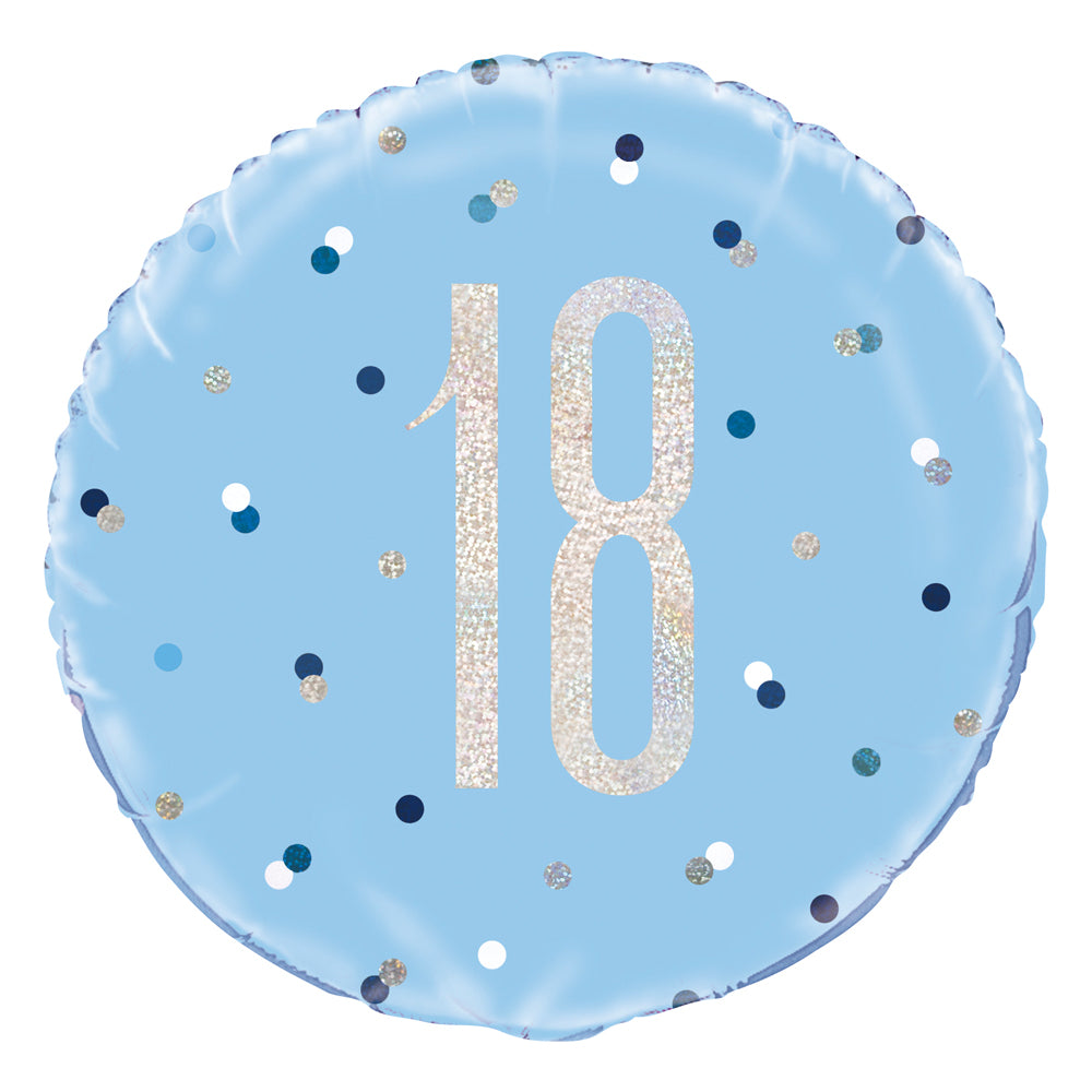 Birthday Glitz Blue 18th Prismatic Foil Balloon - 18""
