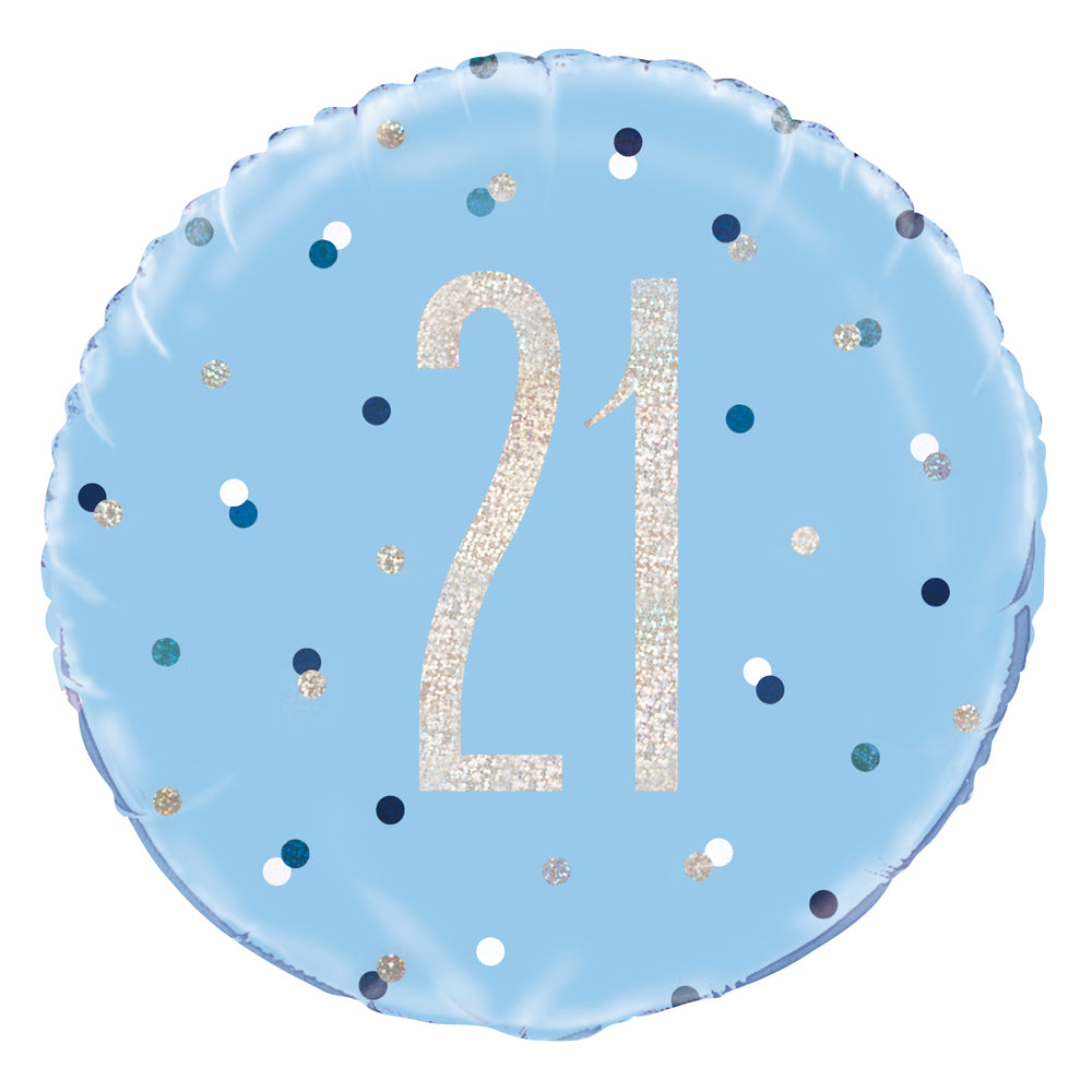 Birthday Glitz Blue 21st Prismatic Foil Balloon - 18""