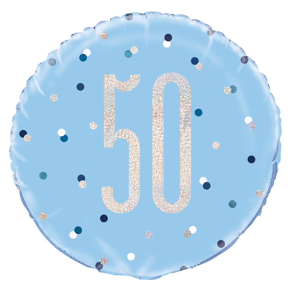 Birthday Glitz Blue 50th Prismatic Foil Balloon - 18""