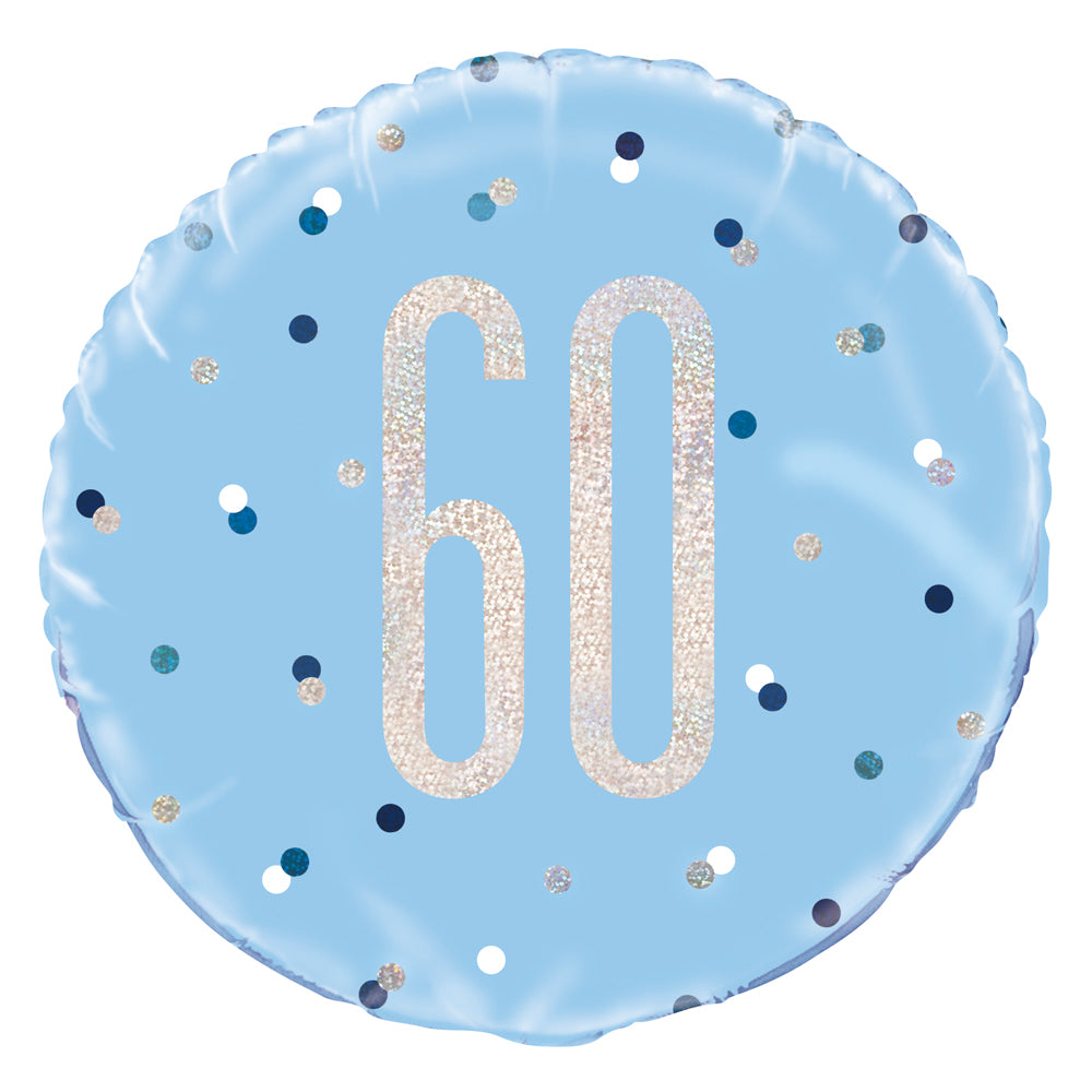 Birthday Glitz Blue 60th Prismatic Foil Balloon - 18""