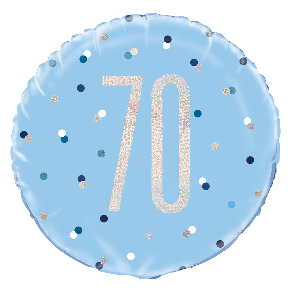 Birthday Glitz Blue 70th Prismatic Foil Balloon - 18""