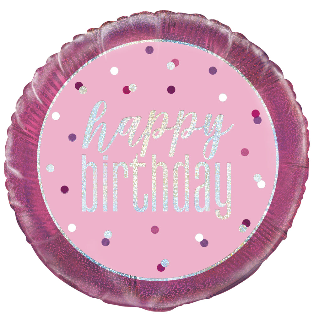 Birthday Glitz Pink 'Happy Birthday' Prismatic Foil Balloon - 50.8cm