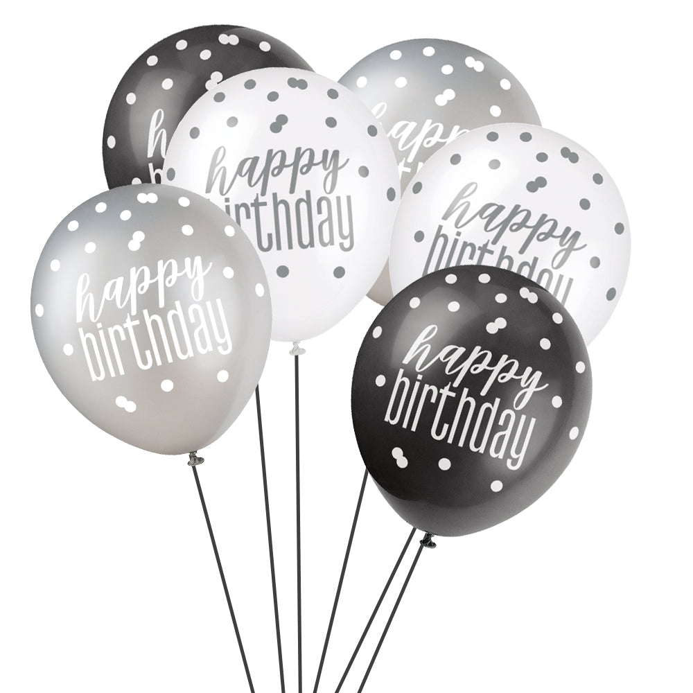 Birthday Glitz Black & Silver 'Happy Birthday' Pearlised Latex Balloons - 30.5cm - Pack of 6 - Assorted