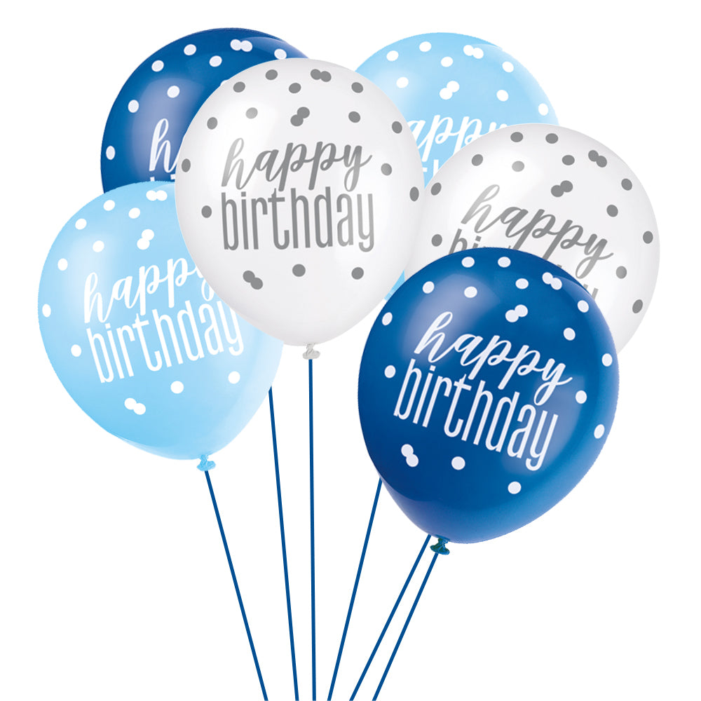 Birthday Glitz Blue Happy Birthday Pearlised Latex Balloons - Pack of 6
