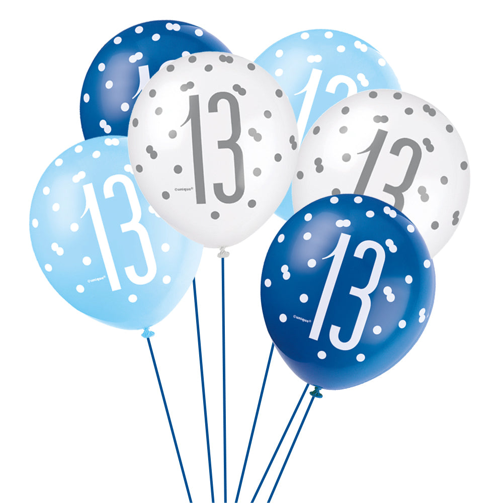 Birthday Glitz Blue 13th Pearlised Latex Balloons - Pack of 6