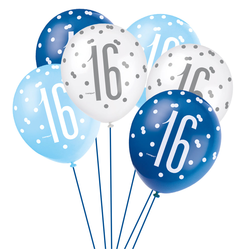 Birthday Glitz Blue 16th Pearlised Latex Balloons - Pack of 6