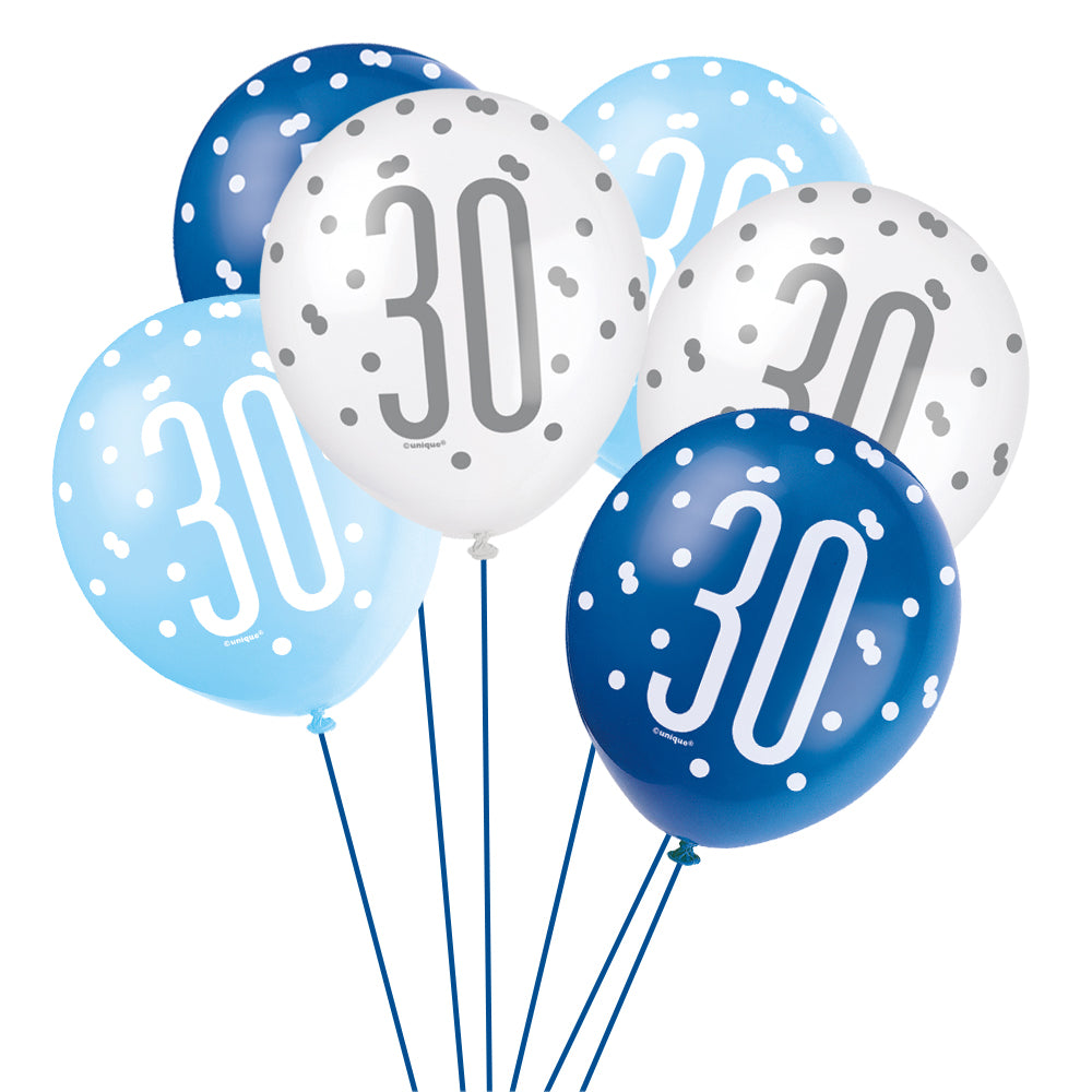 Birthday Glitz Blue 30th Pearlised Latex Balloons - Pack of 6