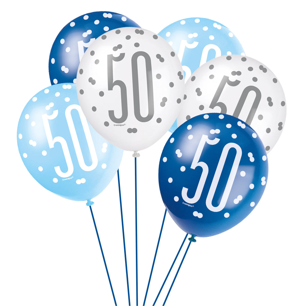 Birthday Glitz Blue 50th Pearlised Latex Balloons - Pack of 6