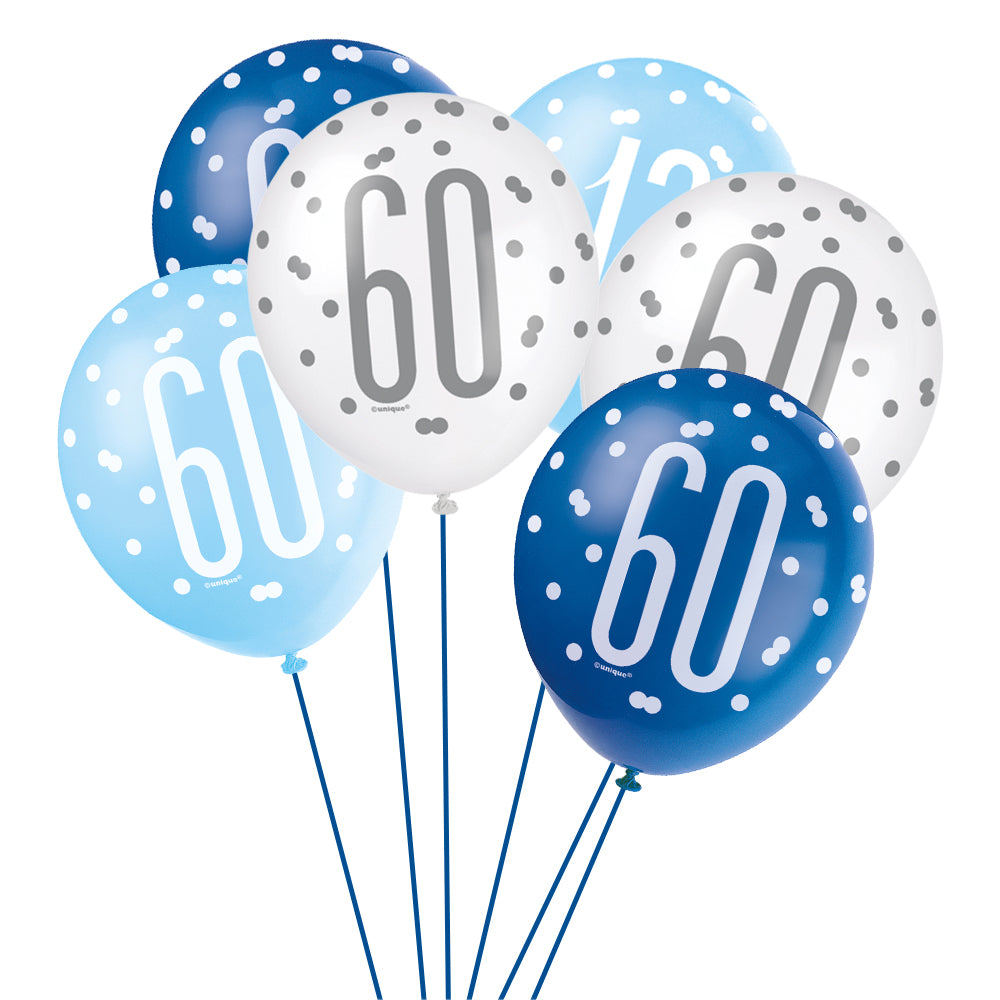 Birthday Glitz Blue 60th Pearlised Latex Balloons - Pack of 6