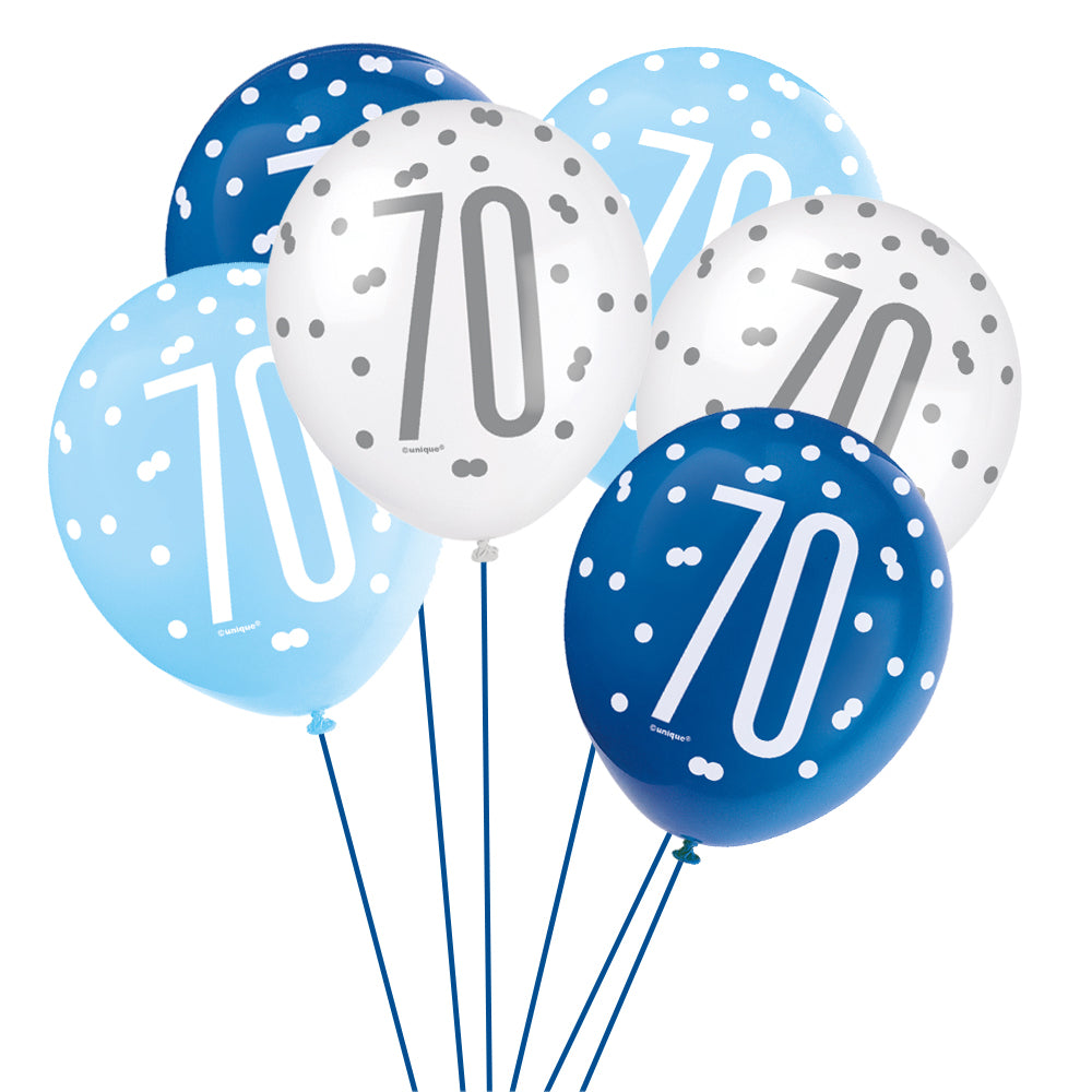 Birthday Glitz Blue 70th Pearlised Latex Balloons - Pack of 6