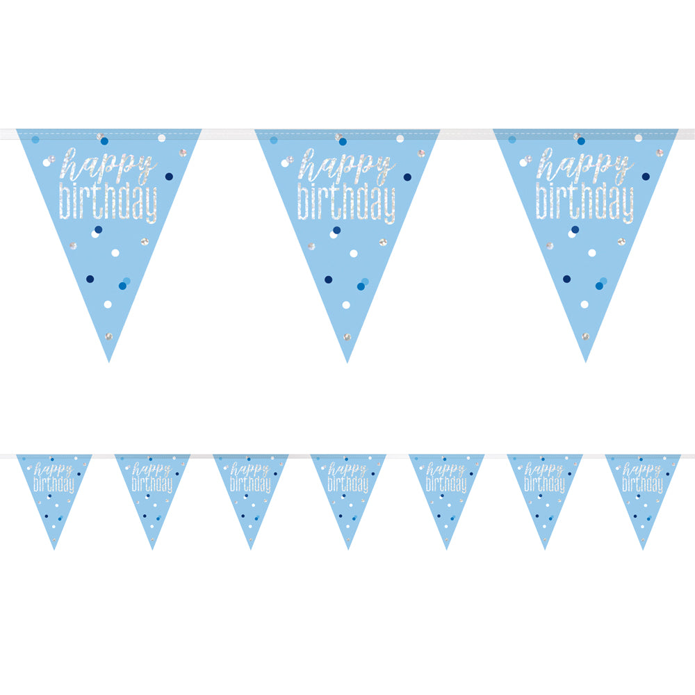 Birthday Glitz Blue Happy Birthday Flag Bunting - 2.7m