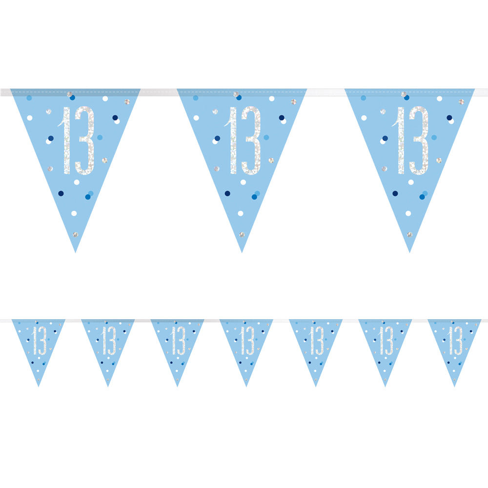 Birthday Glitz Blue 13th Flag Bunting - 2.7m