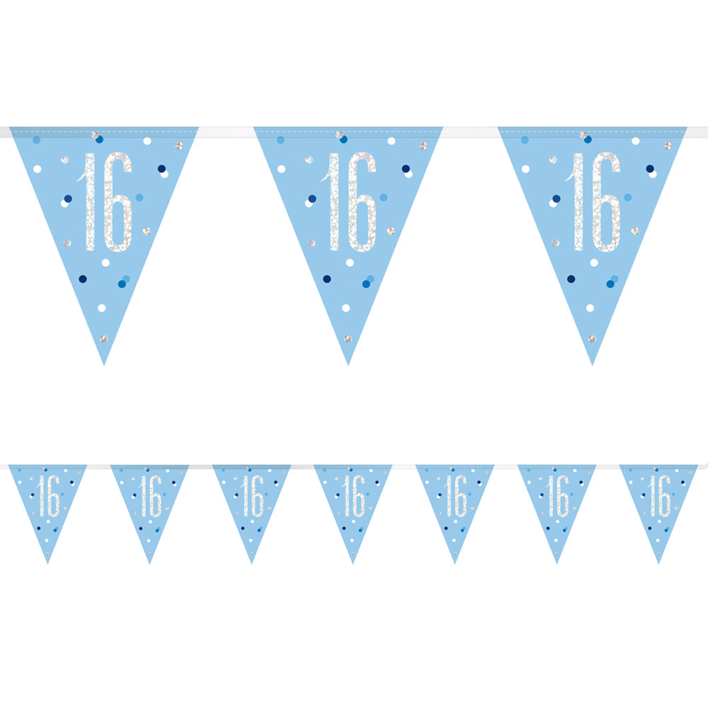 Birthday Glitz Blue 16th Flag Bunting - 2.7m