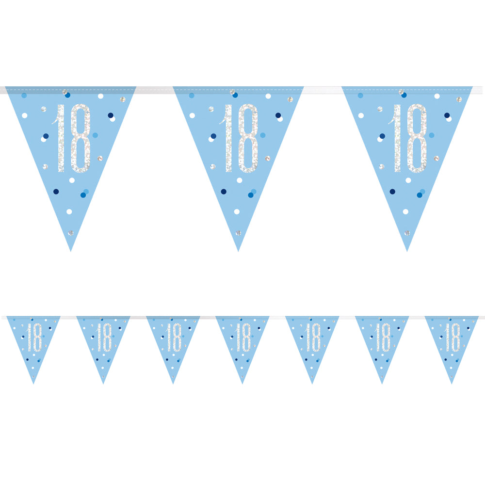 Birthday Glitz Blue 18th Flag Bunting - 2.7m