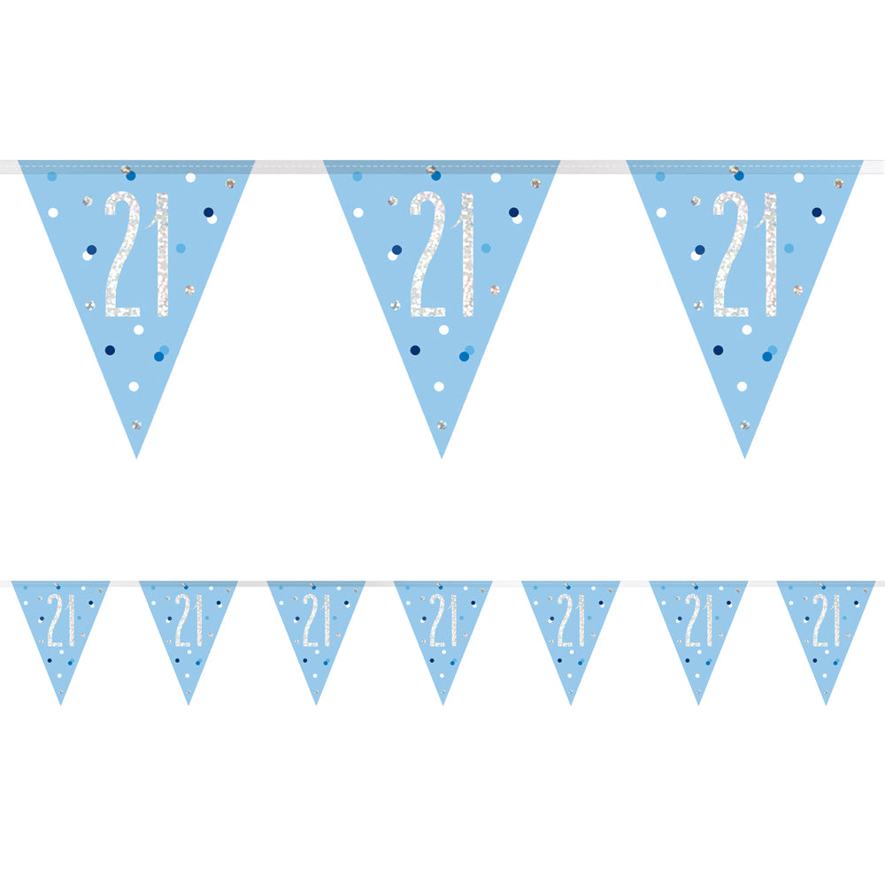 Birthday Glitz Blue 21st Flag Bunting - 2.7m