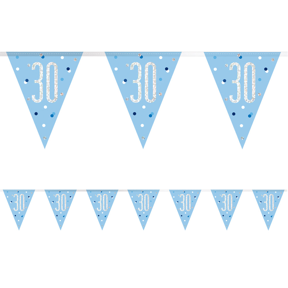 Birthday Glitz Blue 30th Flag Bunting - 2.7m