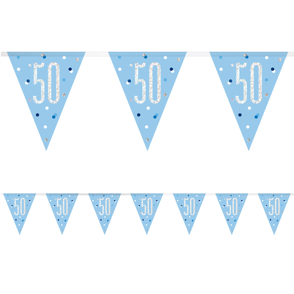 Birthday Glitz Blue 50th Flag Bunting - 2.7m