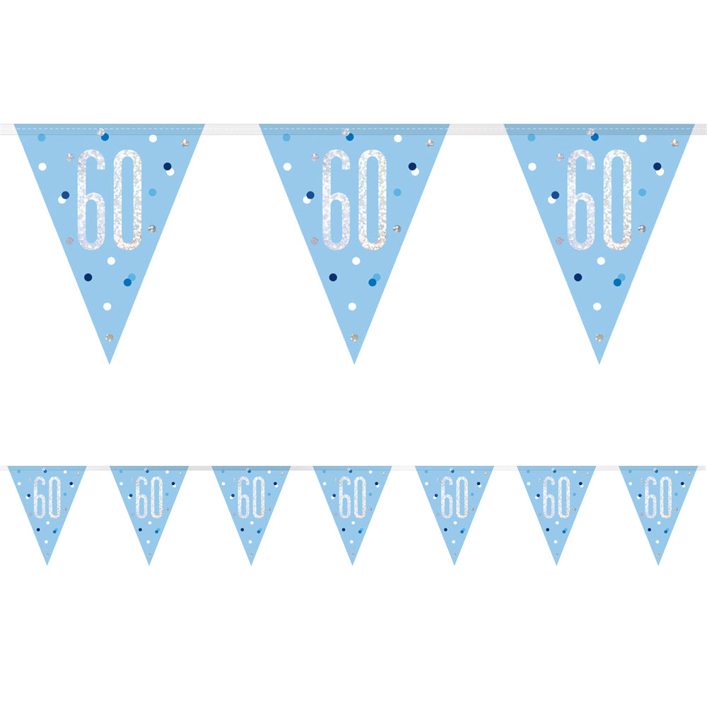 Birthday Glitz Blue 60th Flag Bunting - 2.7m