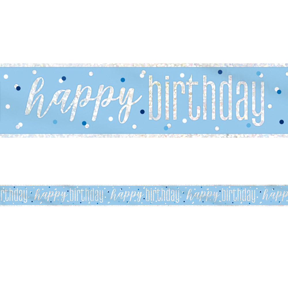 Birthday Glitz Blue Happy Birthday Foil Banner - 2.7m