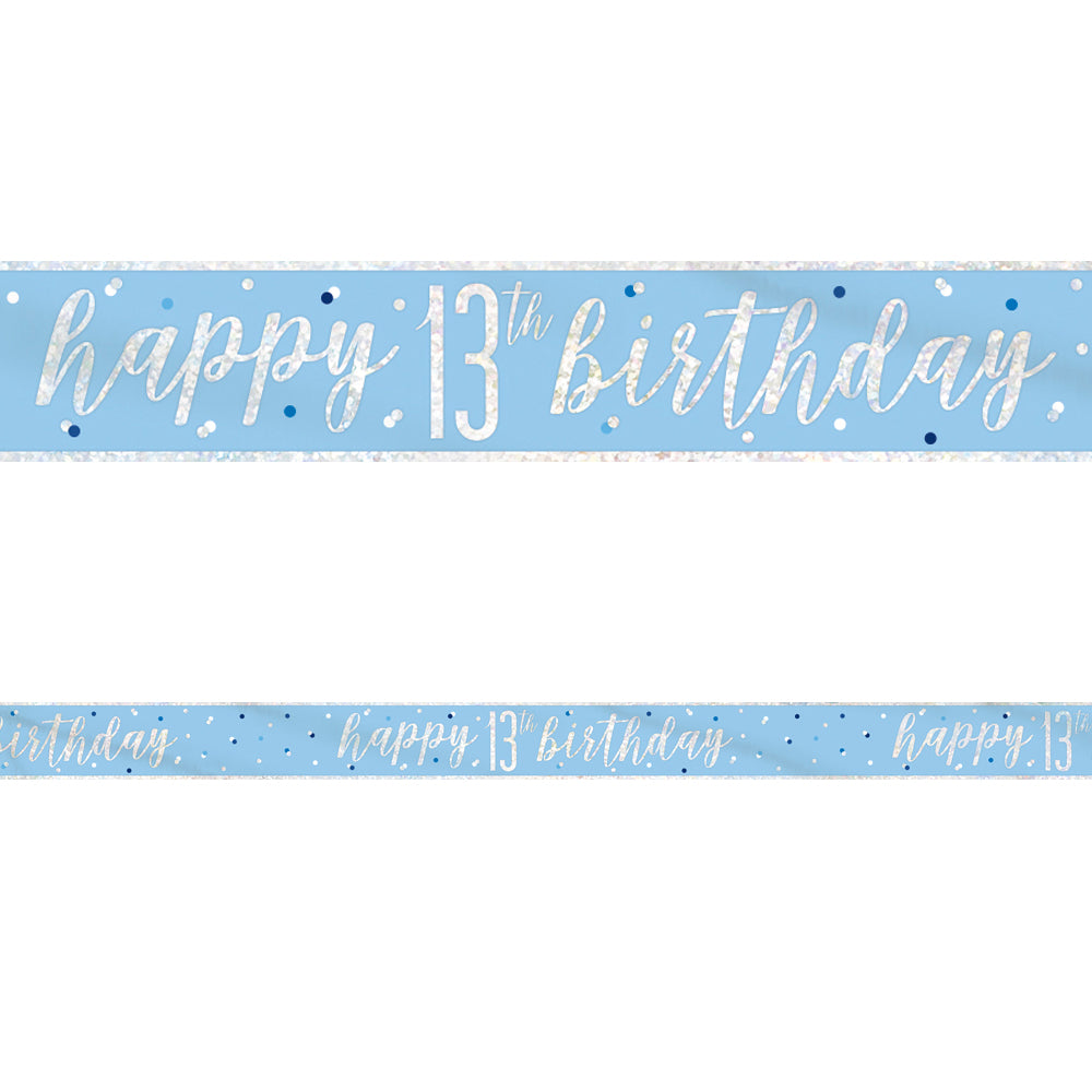 Birthday Glitz Blue Happy 13th Birthday Foil Banner - 2.7m