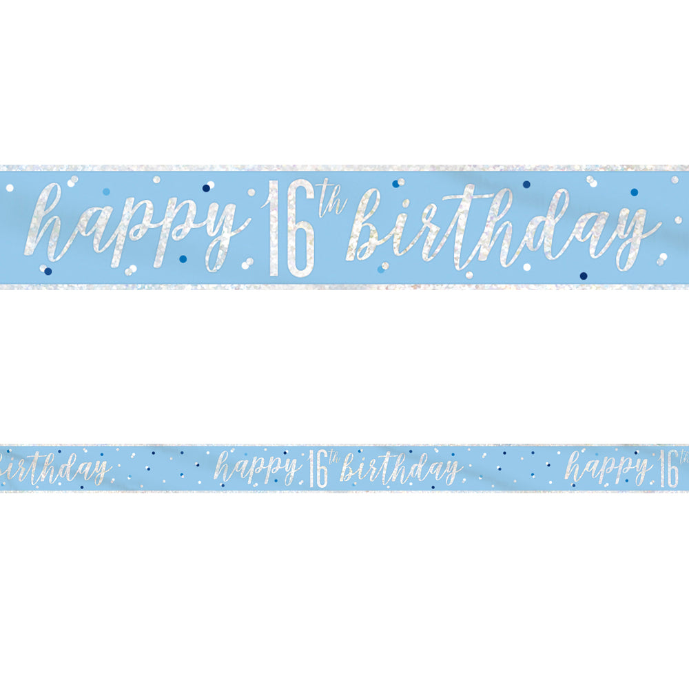 Birthday Glitz Blue Happy 16th Birthday Foil Banner - 2.7m